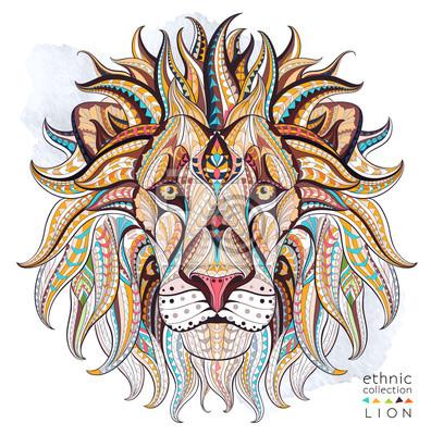 Картина Узором голова льва на фоне гранж. Африканский / индийский дизайн / тотем / татуировки. Он может быть использован для дизайна футболки, сумки, открытки, плакат и так далее.