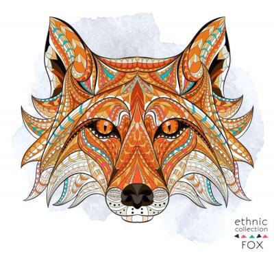 Картина Узором голову красной лисы на фоне гранж. Африканский / индийский дизайн / тотем / татуировки. Он может быть использован для дизайна футболки, сумки, открытки, плакат и так далее.