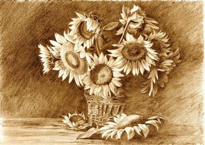 Картина Карандашный рисунок букета подсолнухов в вазе крупным планом