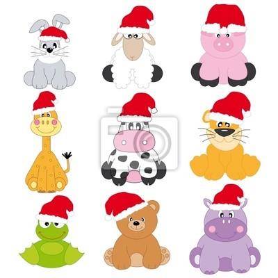 Animales кон Gorro де Санта Клаус