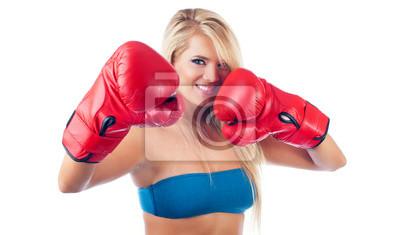 Фото молодых замечательной женщине носить боксерскую перчатку