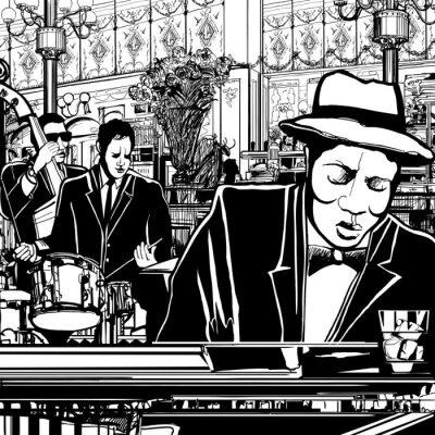 Картина фортепиано-Джаз-бэнд в ресторане