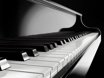 Картина пианино клавиши на черном рояле