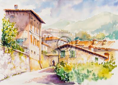 Картина Живописная деревня Весио над Лаго ди Гарда, регион Ломбардия Италии. Картина создана акварелью.
