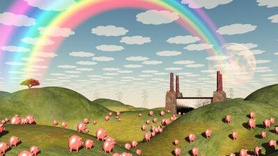 Картина Свиньи двигаться как лемминги к фабрике