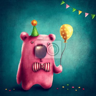 Розовый медведь и воздушный шар