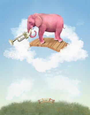 Картина Розовый слон в небо с трубы. Иллюстрация