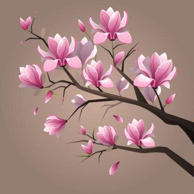 Картина Розовые цветы магнолии