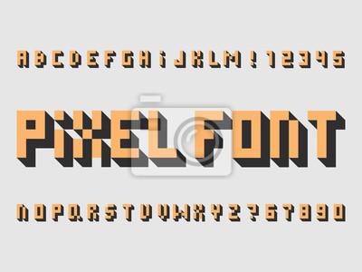Pixel font. Vector alphabet