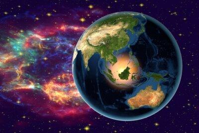 Картина Планета Земля на фоне звезд и галактик, Земля из космоса, показывая Индонезии, Австралии, Индии и Малайзии на земном шаре в ночное время, элементы этого образа мебель НАСА