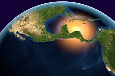 Картина Планета Земля, Земля из космоса, показывая Центральную Америку, Белиз, Коста-Рика, Сальвадор, Гватемала, Гондурас, Никарагуа, Панама на земном шаре в дневное время, элементы этого образа мебель НАСА