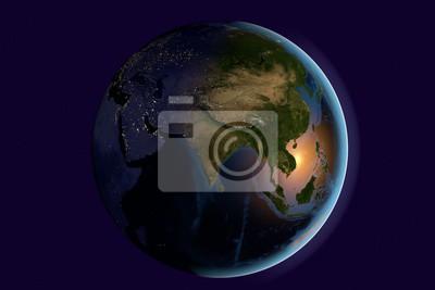 Картина Планета Земля, Земля из космоса, показывая Индии, Азии, Индии на земном шаре в утро, Элементы этого изображения мебелью НАСА