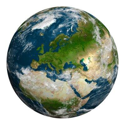 Картина Планета Земля с облаками. Европа, часть Африки и Азии.
