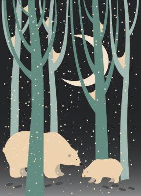 Картина Белый медведь и детёныш в лесу
