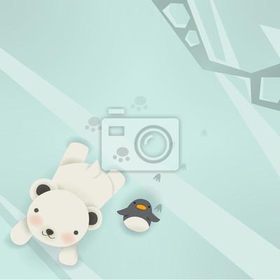 Белый медведь и пингвин