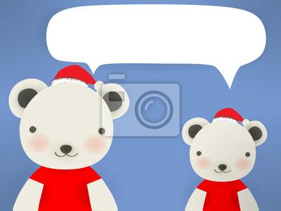 Белый медведь и пингвин - Мери рождественская открытка