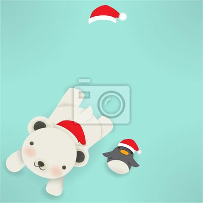 Белый медведь и пингвин - рождественская открытка