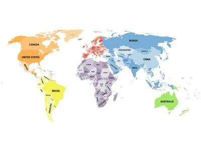 Картина Политическая карта мира на белом фоне.