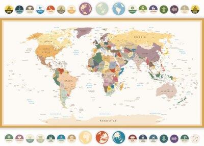 Картина Политическая карта мира с плоскими иконками и globes.Vintage цветов.