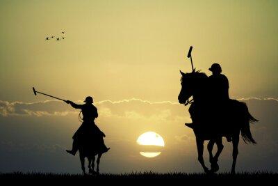 Картина игроки в поло на лошадях
