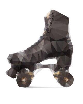 Картина Polygonal иллюстрация черной роликовые коньки изоляции