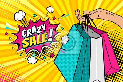 Поп-арт фон с женской руки, проведение яркие сумки и сумасшедшие продажи речи пузырь со звездами, облаками и полутонов. Векторные красочные рисованной иллюстрации в стиле ретро комиксов.