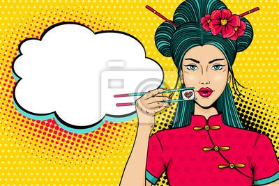 Поп-арт лицо. Молодая сексуальная азиатская женщина с открытым ртом, проведение палочки для еды с креном в форме сердца в руке и пустой речи пузырь. Векторные иллюстрации в ретро-стиле комиксов. Пригл