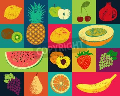 Картина Поп-арт стиле гранж фрукт постер. Коллекция ретро фруктов. Урожай векторный набор фруктов.