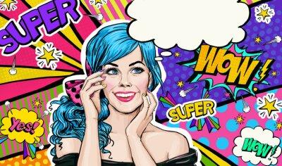 Картина Поп-арт иллюстрации голубой головы девушки на поп-арт background.Pop Art Girl. Приглашение на вечеринку. День рождения открытки. Рекламный плакат. Comic женщина. Романтическая девушка, скрывая ее лицо