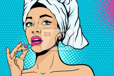 Поп-арт. Макрофотография сексуальная девушка в банном полотенце на ее голову краски ее губы с помадой в руке. Векторный красочный фон в стиле комиксов ретро поп-арт. Косметика применяется на женском л
