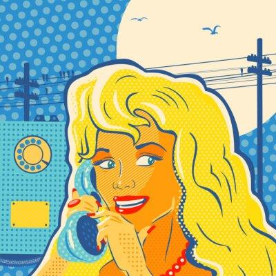Картина Поп-арт девушка с телефоном
