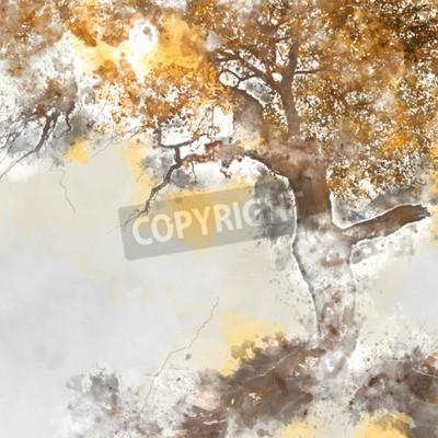 Картина Poplar tree in autumn season, watercolor background made in computer program