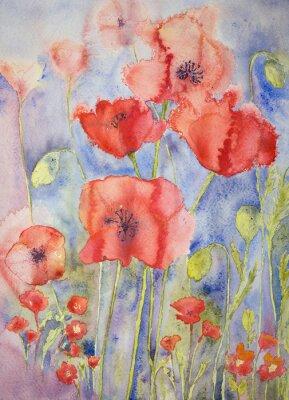Картина Маки в веселых ярких цветов. Техника прикладывая дает эффект мягкой фокусировки благодаря измененному шероховатости поверхности бумаги.