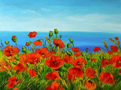 Картина poppy field near the sea, colorful coast, art oil painting