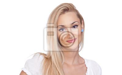 Портрет красоты блондинка женщин, изолированных на белом