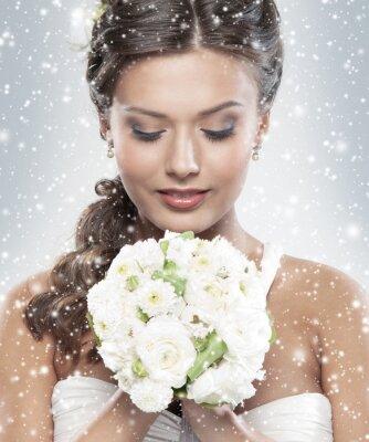 Картина Портрет молодой невеста, держит букет цветов