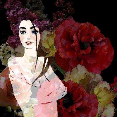 Картина Портрет красивая брюнетка на фоне цветочные