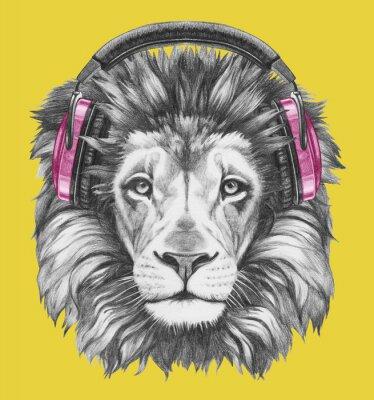 Картина Портрет Льва с наушниками. Ручной обращается иллюстрации.