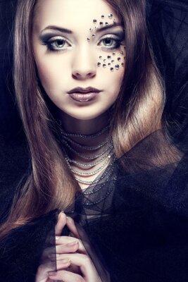 Картина Портрет сексуальной красивая девушка с стразами на лице,