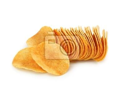 Картофельные чипсы, изолированных на белом фоне