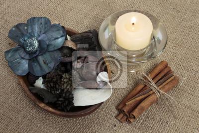 Картина Potpourri, candle and cinnamon on burlap background