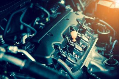 Картина Мощный двигатель автомобиля. Внутренняя конструкция двигателя с горением и клапаном в темном тоне
