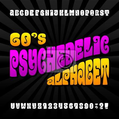 Психоделический алфавита векторный шрифт. Ручной обращается буквы и цифры в стиле хиппи 60-х годов. Векторный набрана для вашего дизайна.
