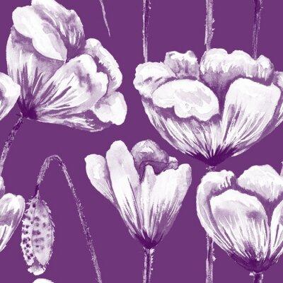 Картина Фиолетовый и белый узор мак