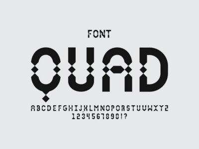 Quad font. Vector alphabet