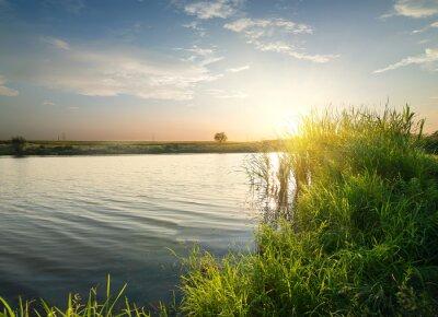 Картина Тихая река на закате