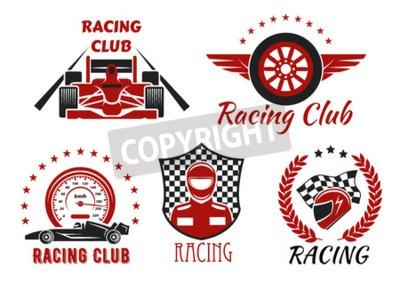 Картина Гоночный клуб и соревнования по автоспорту с гоночными автомобилями с открытым колесом, гонщиком, защитным шлемом и крылатым колесом, обрамленным спидометром, гоночным флагом, клетчатым щитом, лавровы