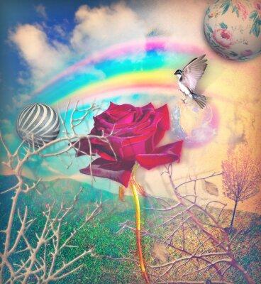 Картина Радуга и красные розы в зеленой долине