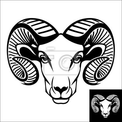 Рам голову логотип или значок. Инверсия версия включены.