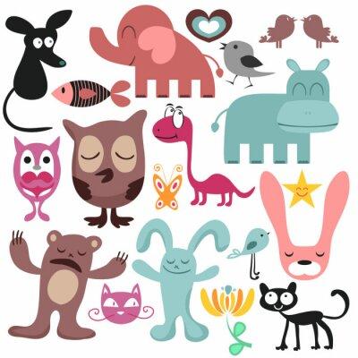 Картина Случайное множество различных забавных животных